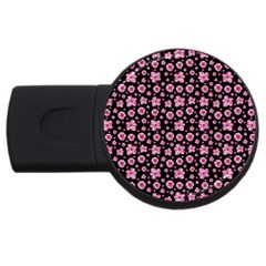 Pink And Black Floral Collage Print Usb Flash Drive Round (2 Gb) by dflcprintsclothing