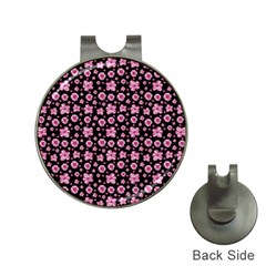 Pink And Black Floral Collage Print Hat Clips With Golf Markers by dflcprintsclothing