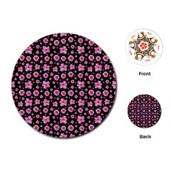 Pink And Black Floral Collage Print Playing Cards Single Design (round) by dflcprintsclothing