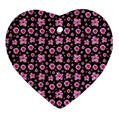 Pink And Black Floral Collage Print Heart Ornament (two Sides) by dflcprintsclothing