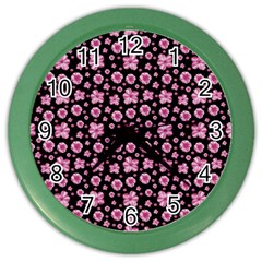 Pink And Black Floral Collage Print Color Wall Clock by dflcprintsclothing