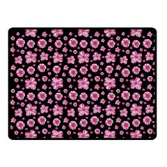 Pink And Black Floral Collage Print Fleece Blanket (small) by dflcprintsclothing