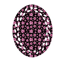 Pink And Black Floral Collage Print Oval Filigree Ornament (two Sides) by dflcprintsclothing