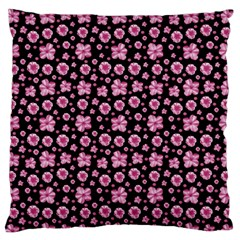 Pink And Black Floral Collage Print Large Flano Cushion Case (one Side) by dflcprintsclothing