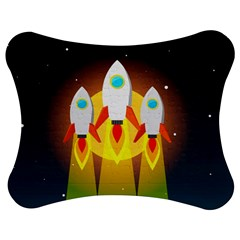 Rocket Take Off Missiles Cosmos Jigsaw Puzzle Photo Stand (bow) by Wegoenart
