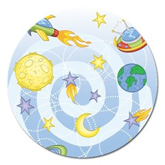 Science Fiction Outer Space Magnet 5  (round)