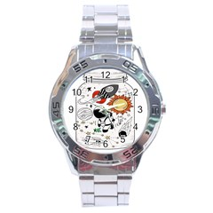 Astronaut Drawing Planet Stainless Steel Analogue Watch