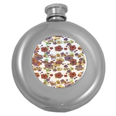 Multicolored Floral Collage Print Round Hip Flask (5 Oz) by dflcprintsclothing