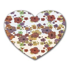 Multicolored Floral Collage Print Heart Mousepads by dflcprintsclothing