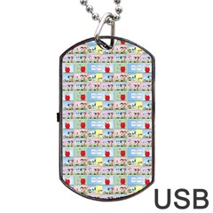 Background Dogs Patterns Dog Tag Usb Flash (two Sides)