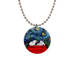 Dog Vincent Van Gogh s Starry Night Parody 1  Button Necklace by Bejoart