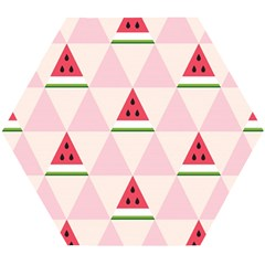 Seamless Pattern Watermelon Slices Geometric Style Wooden Puzzle Hexagon by Nexatart
