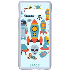 Space Elements Flat Samsung Galaxy S10 Plus Seamless Case(white) by Nexatart