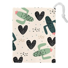 Cute Cactus Plants Seamless Pattern With Children Drawing Baby Kids Apparel Fashion Drawstring Pouch (4xl)