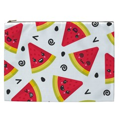 Cute Smiling Watermelon Seamless Pattern White Background Cosmetic Bag (xxl)