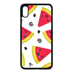 Cute Smiling Watermelon Seamless Pattern White Background Iphone Xs Max Seamless Case (black) by Nexatart