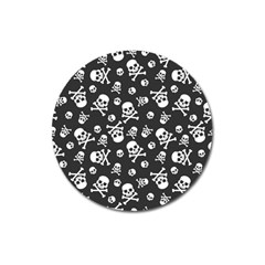 Skull Crossbones Seamless Pattern Holiday Halloween Wallpaper Wrapping Packing Backdrop Magnet 3  (round)