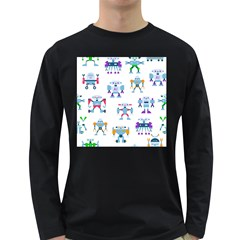 Cute Toy Robotsantennas Wires Seamless Pattern Long Sleeve Dark T-shirt by Nexatart