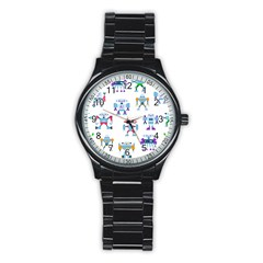 Cute Toy Robotsantennas Wires Seamless Pattern Stainless Steel Round Watch by Nexatart