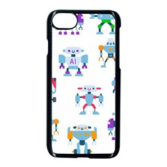 Cute Toy Robotsantennas Wires Seamless Pattern Iphone 8 Seamless Case (black)