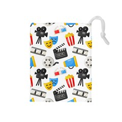 Cinema Icons Pattern Seamless Signs Symbols Collection Icon Drawstring Pouch (medium) by Nexatart