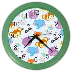 Animal Faces Collection Color Wall Clock by Nexatart