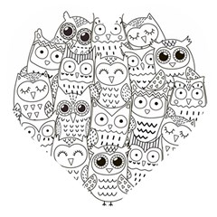 Circle Shape Pattern With Cute Owls Coloring Book Wooden Puzzle Heart