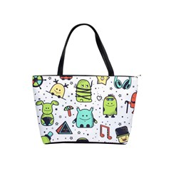 Seamless Pattern With Funny Monsters Cartoon Hand Drawn Characters Colorful Unusual Creatures Classic Shoulder Handbag