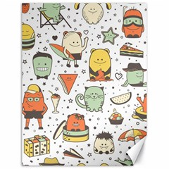 Funny Seamless Pattern With Cartoon Monsters Personage Colorful Hand Drawn Characters Unusual Creatu Canvas 18  X 24  by Nexatart