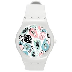 Seamless Pattern With Fruits Round Plastic Sport Watch (m) by Nexatart