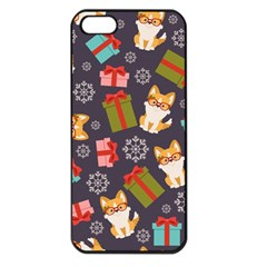 Welsh Corgi Dog With Gift Boxes Seamless Pattern Wallpaper Iphone 5 Seamless Case (black)