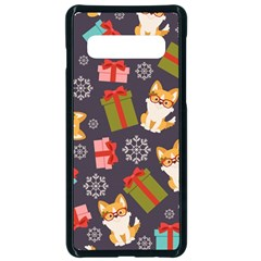 Welsh Corgi Dog With Gift Boxes Seamless Pattern Wallpaper Samsung Galaxy S10 Seamless Case(black) by Nexatart