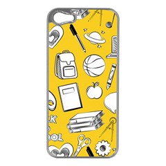 Pattern With Basketball Apple Paint Back School Illustration Iphone 5 Case (silver)