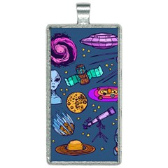 Space Sketch Set Colored Rectangle Necklace