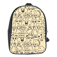 Seamless Pattern With Cute Monster Doodle School Bag (large)