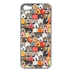 Cute Dog Seamless Pattern Background Iphone 5 Case (silver)