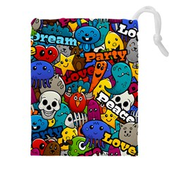 Graffiti Characters Seamless Pattern Drawstring Pouch (3xl)