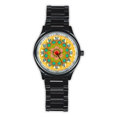 Mandala Patterns Yellow Stainless Steel Round Watch by Nexatart