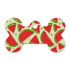 Cute Watermelon Seamless Pattern Dog Tag Bone (two Sides)