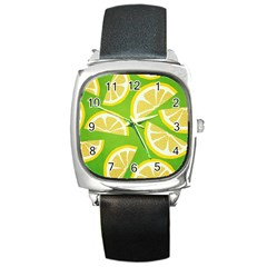 Lemon Fruit Healthy Fruits Food Square Metal Watch by Nexatart