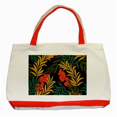 Fashionable Seamless Tropical Pattern With Bright Green Blue Plants Leaves Classic Tote Bag (red) by Nexatart