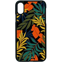 Fashionable Seamless Tropical Pattern With Bright Green Blue Plants Leaves Iphone X Seamless Case (black) by Nexatart