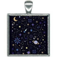 Starry Night  Space Constellations  Stars  Galaxy  Universe Graphic  Illustration Square Necklace