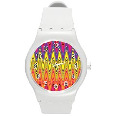 Retro Colorful Waves Background Round Plastic Sport Watch (m)