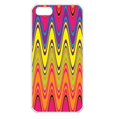 Retro Colorful Waves Background Iphone 5 Seamless Case (white)