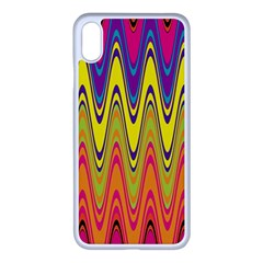 Retro Colorful Waves Background Iphone Xs Max Seamless Case (white)