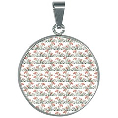 Photo Illustration Floral Motif Striped Design 30mm Round Necklace by dflcprintsclothing