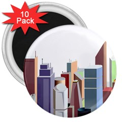 City Urban Buildings Skyscraper 3  Magnets (10 Pack)  by Bejoart