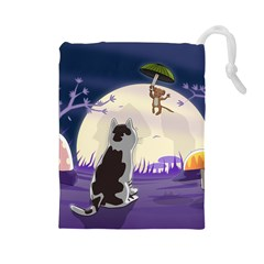 Cat Kitty Mouse Mice Escape Trick Drawstring Pouch (large) by Bejoart