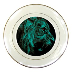 Angry Male Lion Predator Carnivore Porcelain Plates